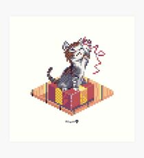 Kitten playing with Ribbon - Present Cube Art Print