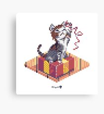Kitten playing with Ribbon - Present Cube Canvas Print