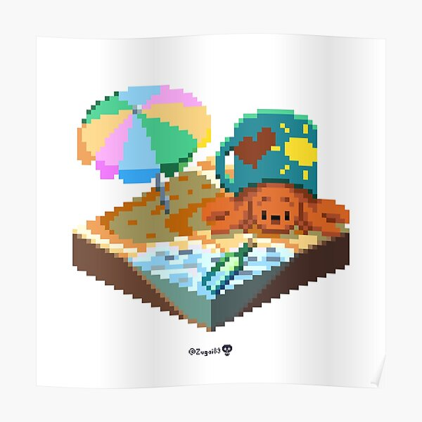 Crabby on the Beach Cube Poster