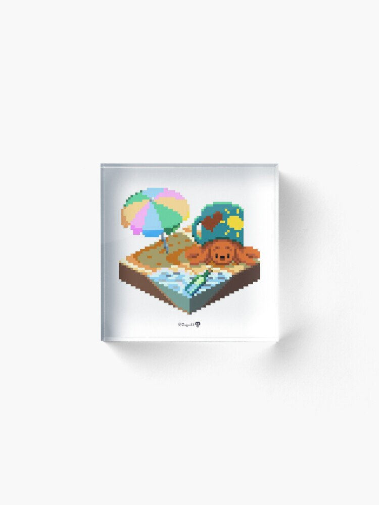 Alternate view of Crabby on the Beach Cube Acrylic Block