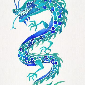 Chinesischer Drache - Blaue Palette von catcoq