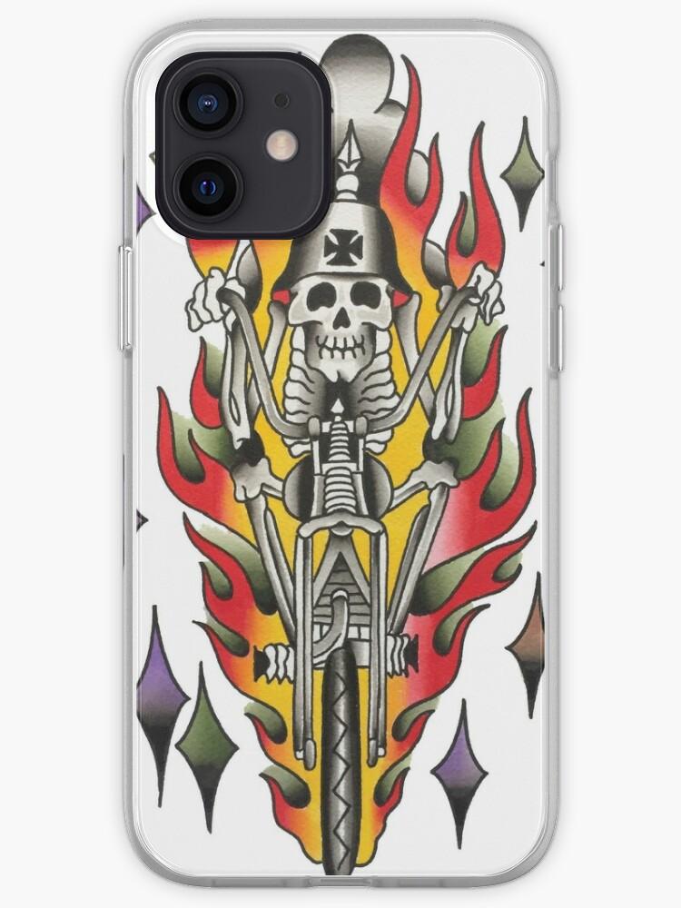 Motif traditionnel de tatouage de motard squelette | Coque iPhone