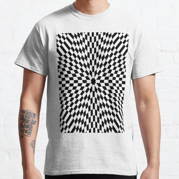 #Op #art #optical #visual #illusions abstract black white movement hidden images flashing vibrating patterns swelling warping pattern design textile illustration decoration square repetition shape Classic T-Shirt