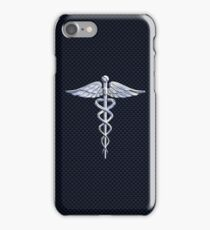 Chrome like Medical Caduceus Snakes iPhone Case/Skin