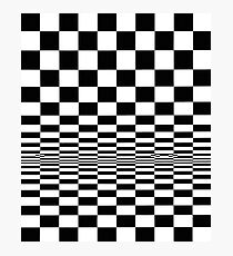 Movement in Squares, by Bridget Riley 1961, chess, tile, square, pattern, design, grid, mosaic, checkerboard, bank check, abstract Photographic Print
