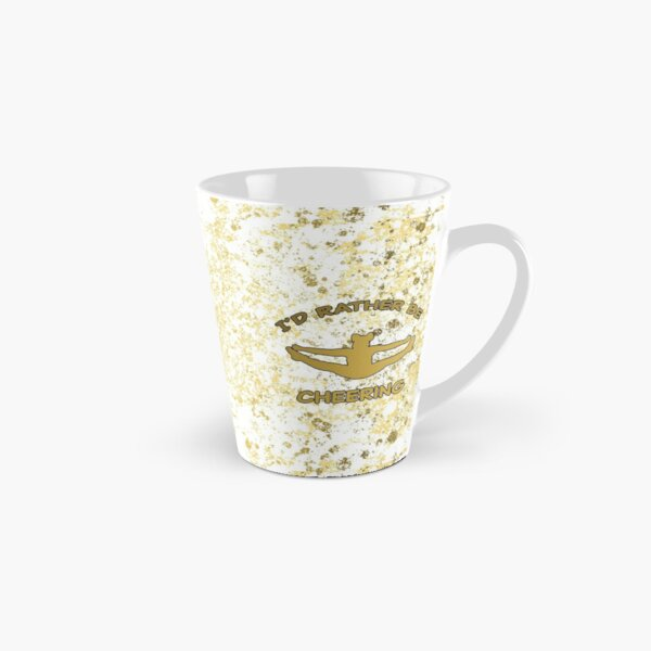 Cheer- I'd Rather be Cheering in White and Gold Patina Design Tall Mug