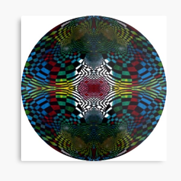 #Pattern #FractalArt #Circle #Symmetry #Design Ornament decoration bright ornate shape art abstract separation circle colors square Metal Print