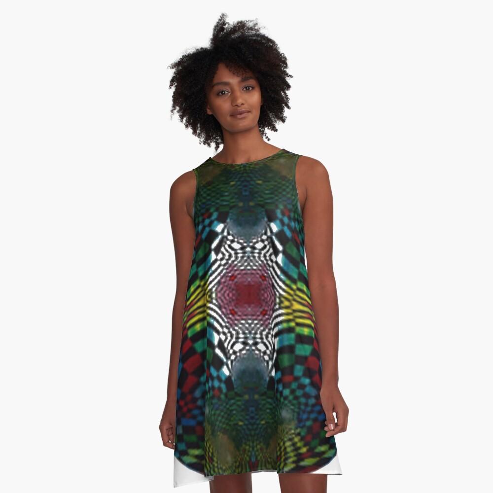 #Pattern #FractalArt #Circle #Symmetry #Design Ornament decoration bright ornate shape art abstract separation circle colors square A-Line Dress