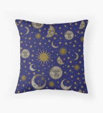 Vintage Celestial Moon and Stars Floor Pillow