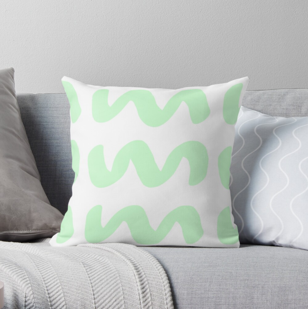 Mint Waves Throw Pillow