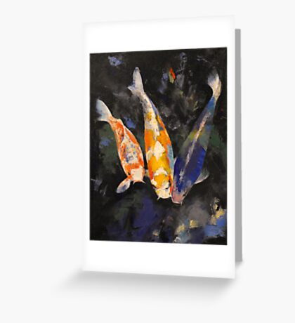 Three Koi Fish Greeting Card