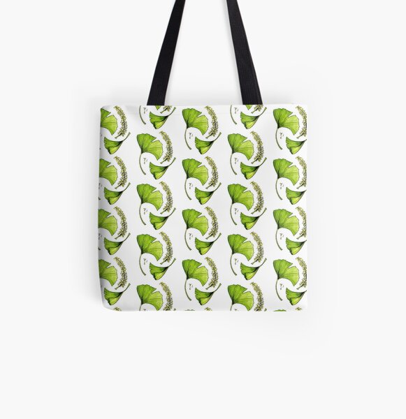 Ginkgo leaves with flowers watercolor sticker All Over Print Tote Bag