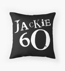 Jackie 60 Classic White Logo on Black Gear Throw Pillow