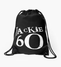 Jackie 60 Classic White Logo on Black Gear Drawstring Bag