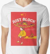 Just Block! Fighting Game Poster Design Men's V-Neck T-Shirt