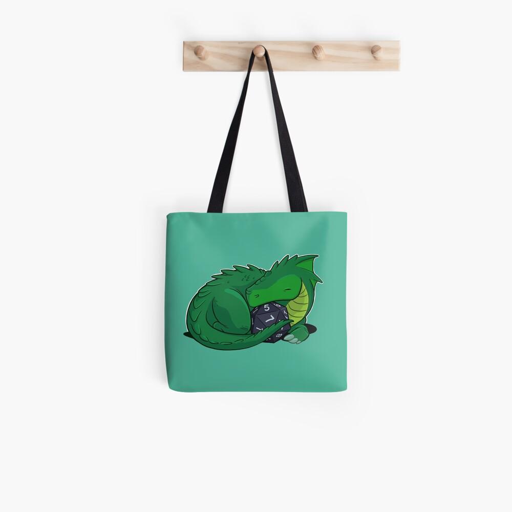 D20 Green Dragon Tote Bag