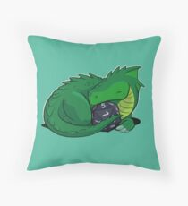 D20 Green Dragon Throw Pillow