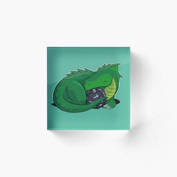 D20 Green Dragon Acrylic Block