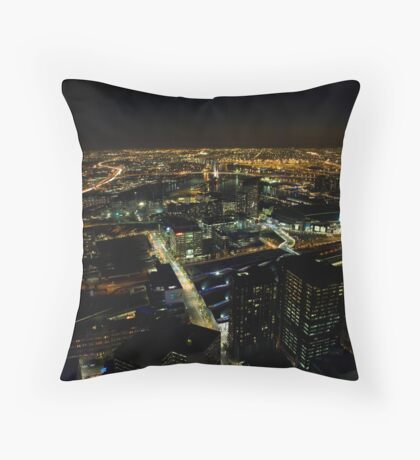 Looking down Collins street Melbourne Throw Pillow