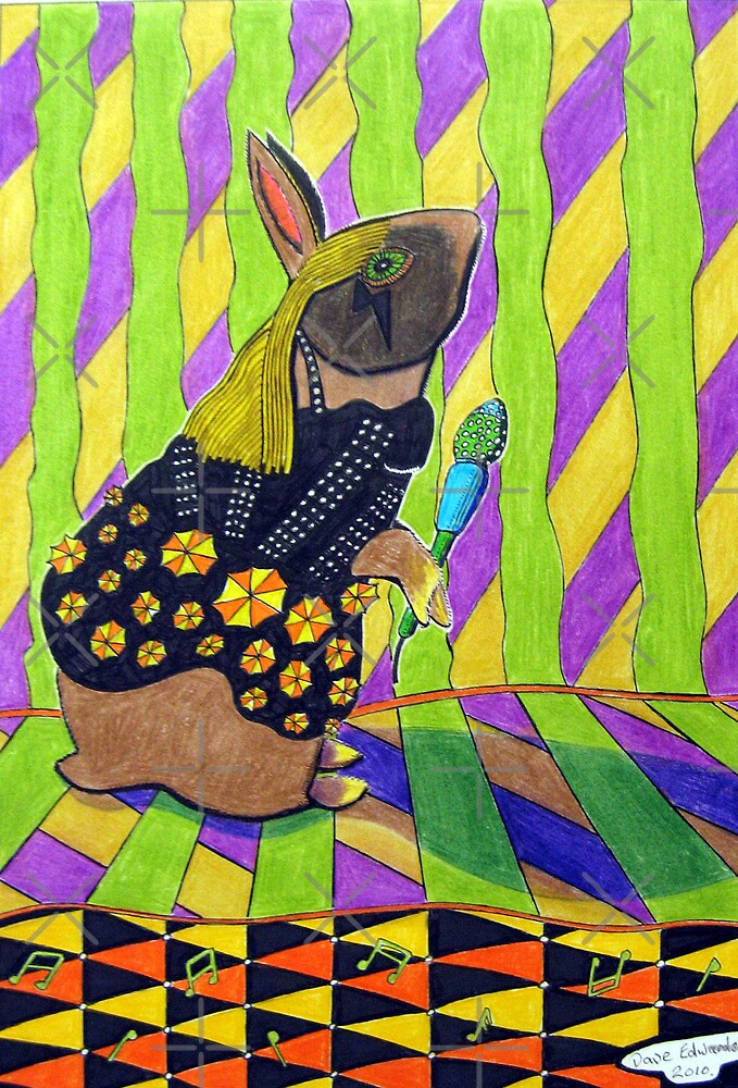297 - LADY GAGA BUNNY - DAVE EDWARDS - COLOURED PENCILS AND INK - 2010 by BLYTHART