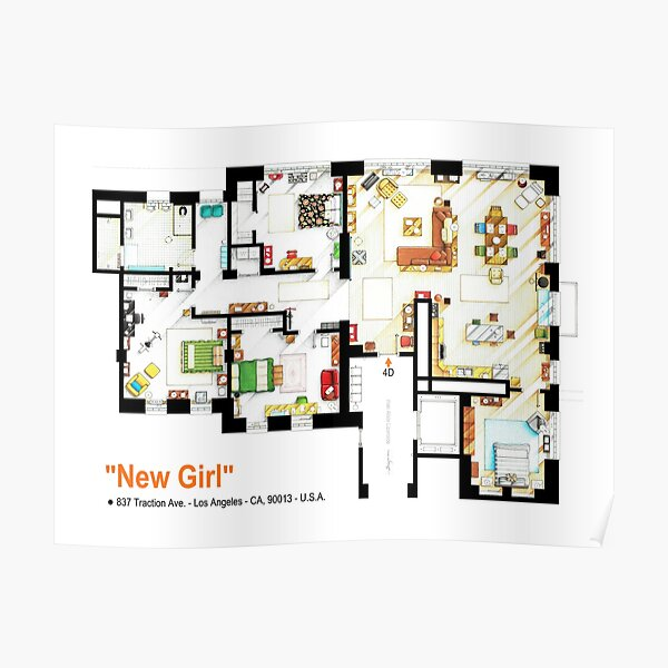 Floorplan of the loft / apartment from NEW GIRL Poster