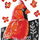 Red bird in Gouache by printmesomecolo