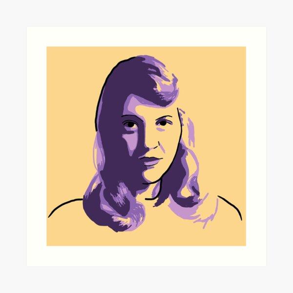 Sylvia Plath Yellow Purple Portrait Art Print