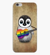 Baby Penguin Playing Gay Pride Rainbow Flag Guitar iPhone Case