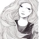 Catching A Moment Fashion Illustration Portrait by Alicia Rogerson