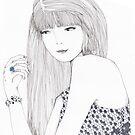 Haute Couture Fashion Illustration Portrait by Alicia Rogerson