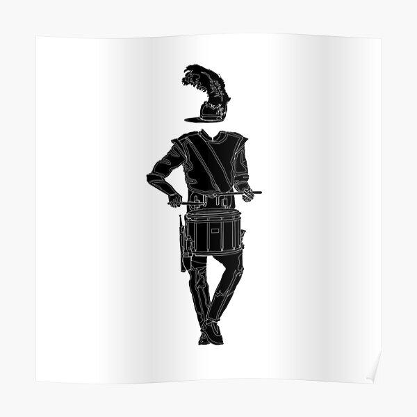 Black Marching Snare Outline Poster