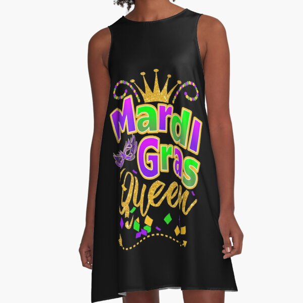 Mardi Gras Queen Crown Festival Carnivals T Shirt Gift And Accessories, Queen Of Mardi Gras Costumes Women Sexy Shirts, A-Line Dress