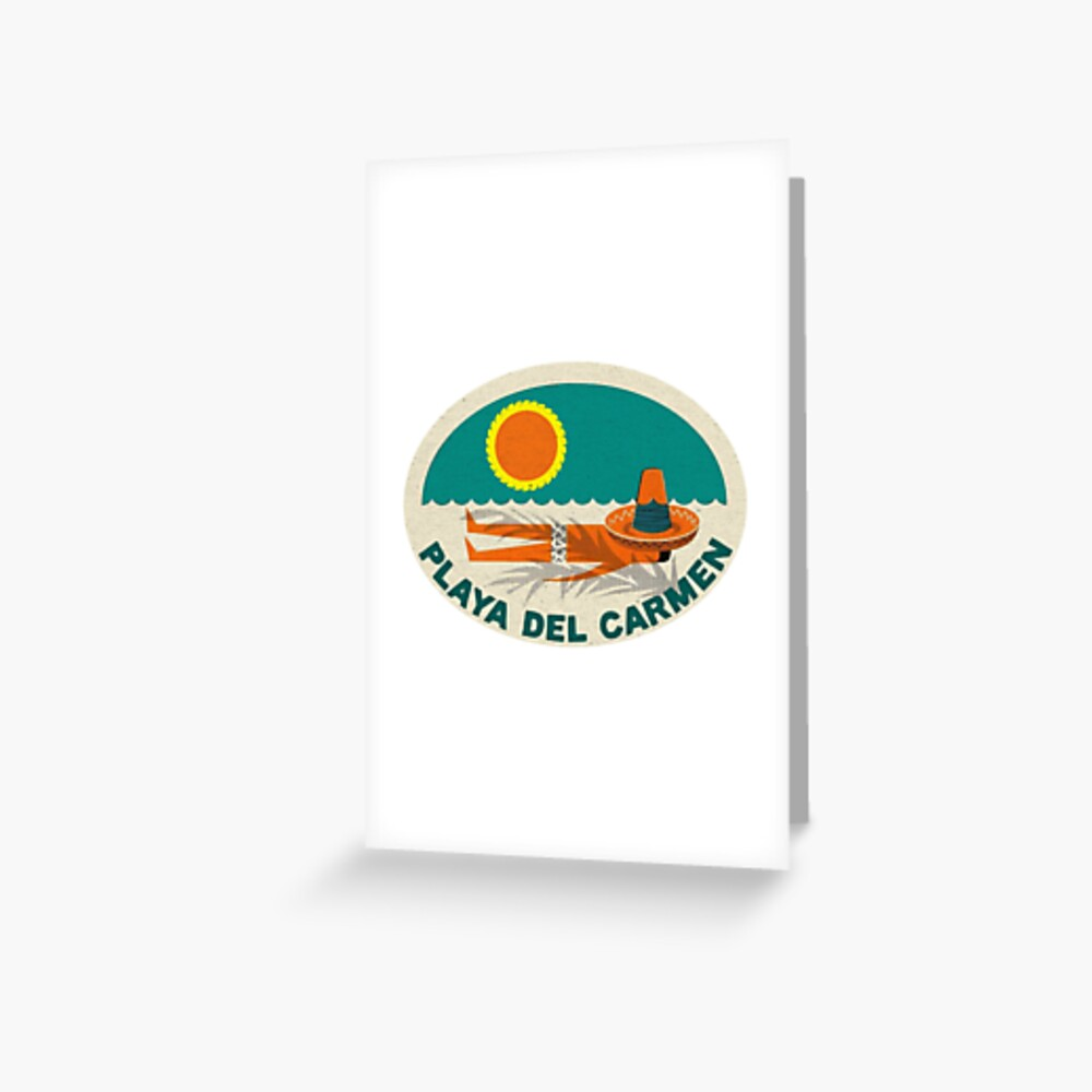 """Playa Del Carmen Mexico Vintage Style"""" Greeting Card by TravelTime 
