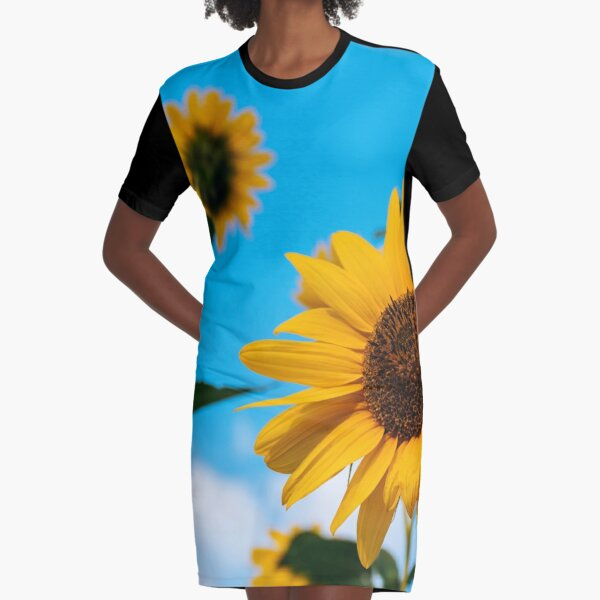 Sunflower and blue sky Graphic T-Shirt Dress