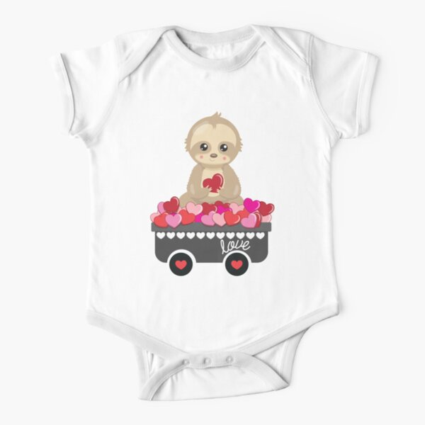 Cute Sloth with Wheelbarrow of Hearts Love Valentines Day Design  Short Sleeve Baby One-Piece