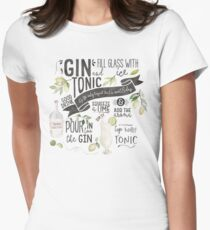 Gin Tonic Recipe In Watercolor Fitted T-Shirt
