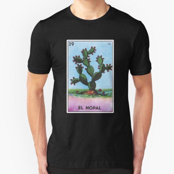El Nopal Loteria Prickly Pear Cactus Card Slim Fit T-Shirt