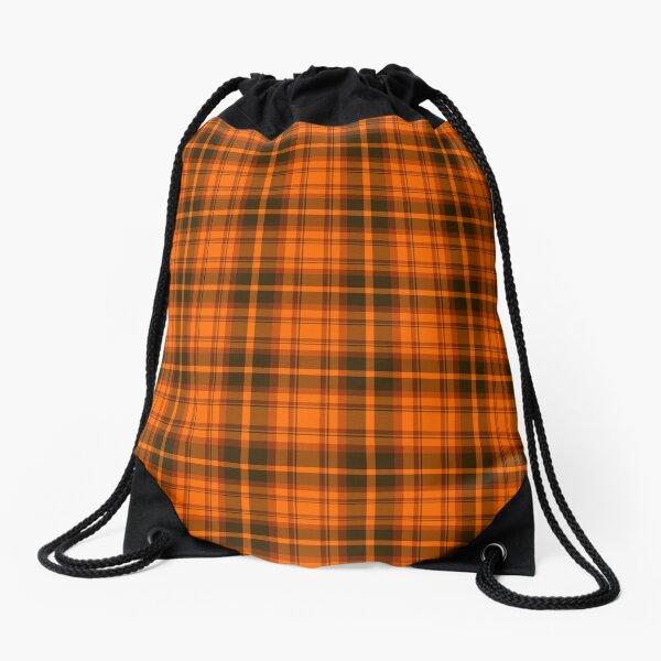 Orange Tartan Plaid Pattern Drawstring Bag