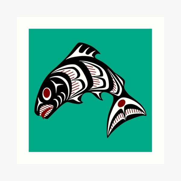 Northwest Pacific coast Haida art Salmon Art Print