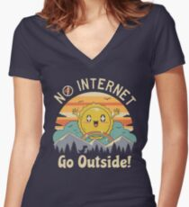 No Internet Vibes! Women's Fitted V-Neck T-Shirt