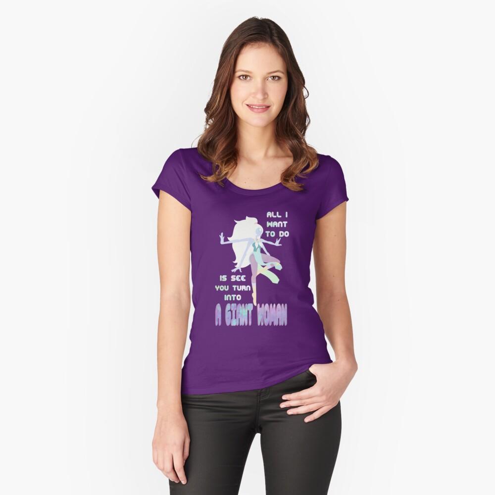 Riesige Frau Tailliertes Rundhals-Shirt