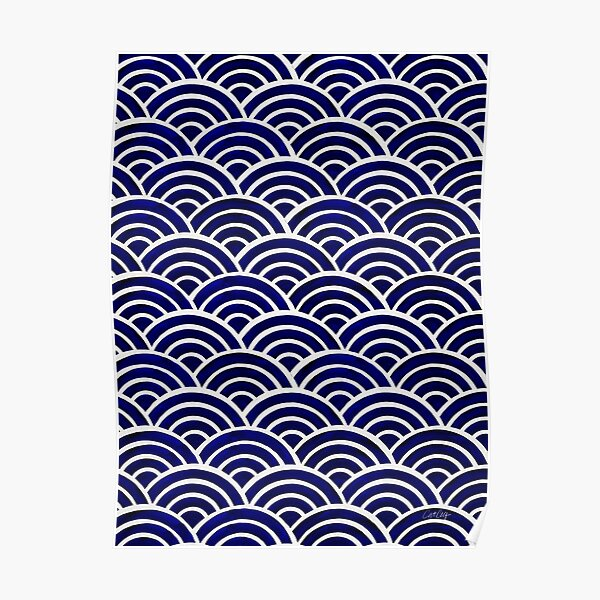 Japanese Seigaiha Wave – Navy Palette Poster