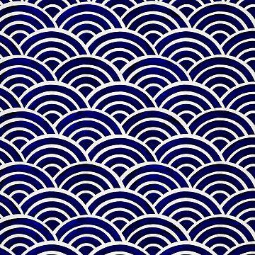 Japanische Seigaiha Wave - Navy Palette von catcoq