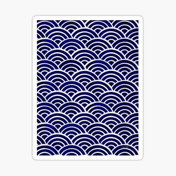 Japanese Seigaiha Wave – Navy Palette Sticker