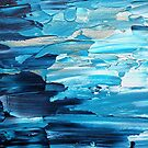 Blue, cold, winter abstract painting, acrylic paints, navy, silver, grey, white by martasketches