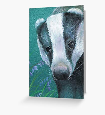 Badger in the bluebell woods Greeting Card