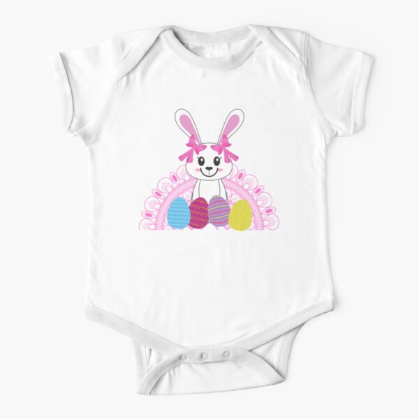 Easter bunny and eggs Short Sleeve Baby One-Piece