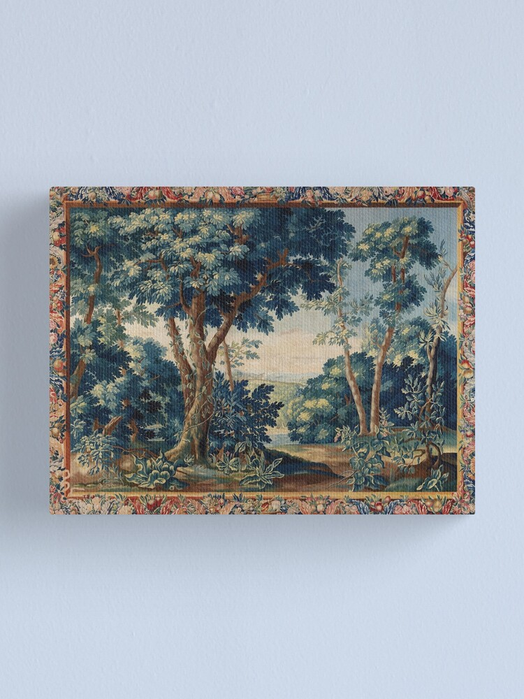 Alternate view of GREENERY, TREES IN WOODLAND LANDSCAPE Antique Flemish Tapestry Canvas Print