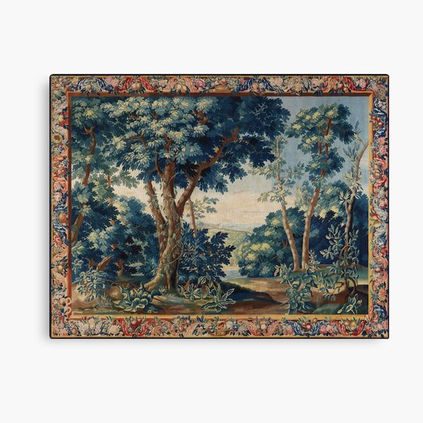 GREENERY, TREES IN WOODLAND LANDSCAPE Antique Flemish Tapestry Canvas Print