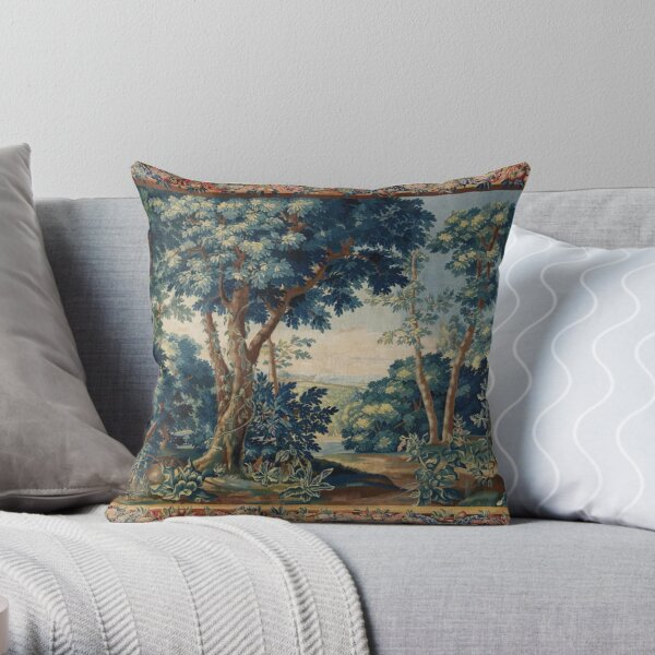 GREENERY, TREES IN WOODLAND LANDSCAPE Antique Flemish Tapestry Throw Pillow